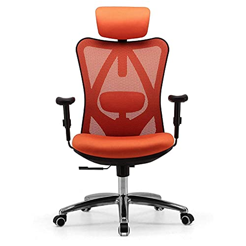 SIHOO Ergonomic Desk Chair, Computer Chair with Breathable Mesh Design Adjustable Headrest and Lumbar Support High Back Chair(Orange)