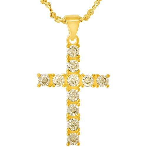 Colgante de cruz, circonita colgante, 24K oro Premium superposición bisutería de moda garantizada para la vida, con 18pulgadas cadena