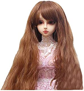 Flaxen Color Doll Wig Synthetic Hair Cute Long Curly Hair Accessory