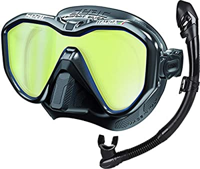 SEAC Italica Mask and Vortex Dry Snorkel (Black/Black Metal Tinted Lens)