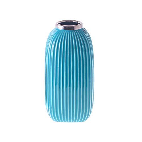 HCHLQLZ - Jarrón cerámica acabado azul decoración