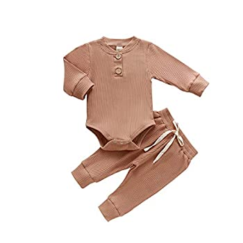 Newborn Baby Boy Girl Fall Winter Clothes Set Long Sleeve Button Romper Bodysuit+Pants Ribbed Two Piece Solid Outfits  A-Coffee 6-12 Months
