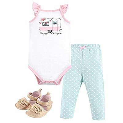 Hudson Baby Unisex Baby Cotton Bodysuit, Pant and Shoe Set, Pink Happy Camper, 12-18 Months