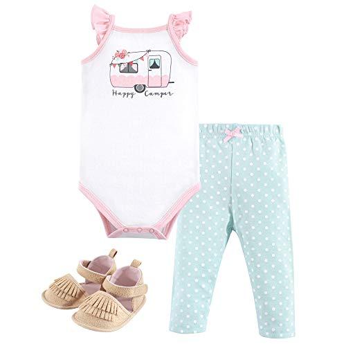 Hudson baby Bodysuit, Pants/Shorts and Shoes Kit d'équipement, Happy Camper Rose, 9-12 Months Bébé Fille
