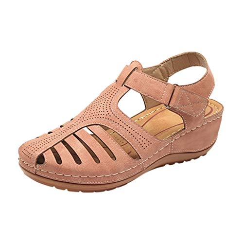 JJLIKER Women's Closed Toe Cutout Sandals Flats Soft Comfort Casual Low Wedge Shoes Walking Driving Fashion Wild Outdoor Pink