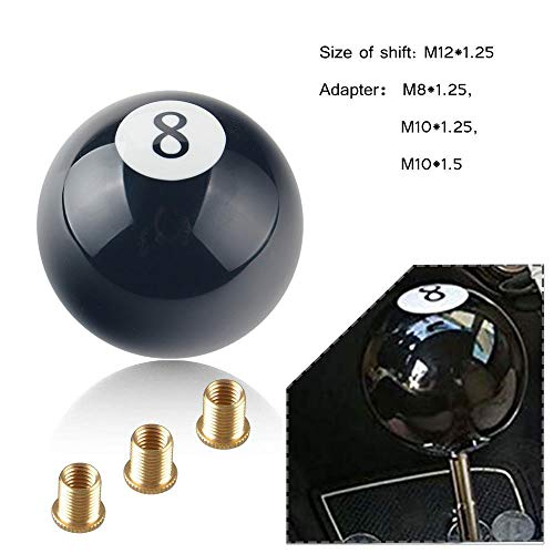 RYANSTAR Shift Knob Black 8 Ball Billiard Acrylic Gear Shift Lever Shift Knob Black Shaped Round Manual with 3 Adapters Universal Fit for Manual Car M 81.25, M 101.25, M 101.5, M 121.25