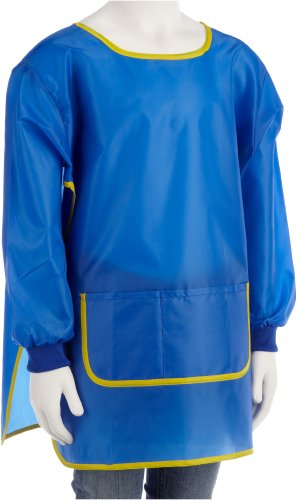 Idena 611185 - Bastelschürze für Kinder von 7 - 8 Jahren mit langen Ärmeln und Klettverschluss, perfekt zum Malen, Basteln, Kochen und Matschen, blau