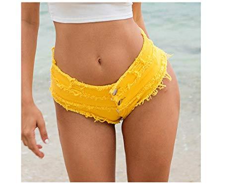hoverwin Shorts mujer verano, mini Jean Sexy, Jeans Short Denim cintura baja, Night Club wear–negro, blanco, azul, amarillo, amarillo, medium