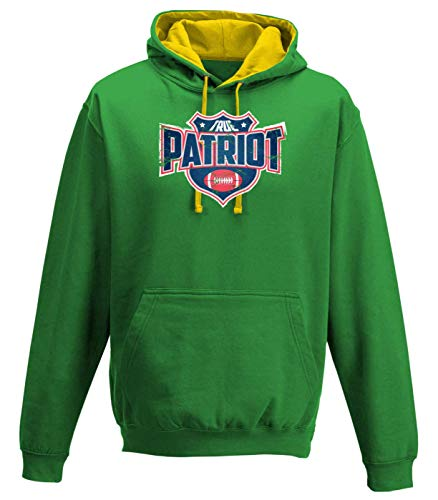 Shirt Happenz True Patriots Any Given Sunday Pats Football Premium Varsity Hoodie Pulli Kontrasthoodie Kapuzenpullover, Größe:S, Farbe:Waldgrün Gold JH003