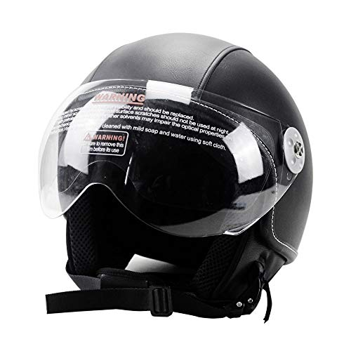 Woljay Leather Motorcycle Vintage Half Helmets Motorcycle Biker Cruiser Scooter Touring Helmets (L,...