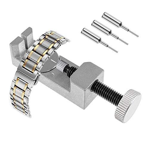 Uhr-Reparaturwerkzeuge Uhr-Link-Stift-Entferner-Armband Kettenbolzen-Entferner-Reparatursatz-Werkzeuge Metallverstellbares Armband Uhr-Reparaturwerkzeuge Uhrmacher mit 3 zusätzlichen Stiften(Silber)