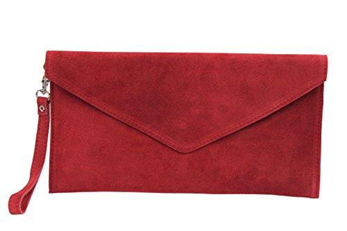 AMBRA Moda Damen Wildleder Clutch Abendtasche Partytasche Handschlaufe Suede Handgelenktasche Schultertasche Umhaengtasche Unterarmtasche Damentasche Veloursleder WL801 (Rot)