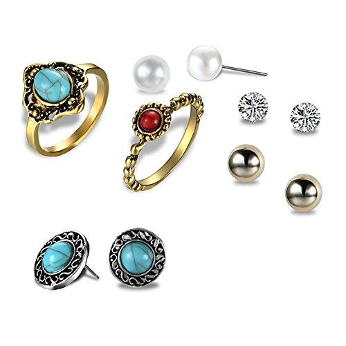 Lubier - Juego de anillos y pendientes de cristal de perlas de oro antiguo, diseño retro, de Europa y los Estados Unidos