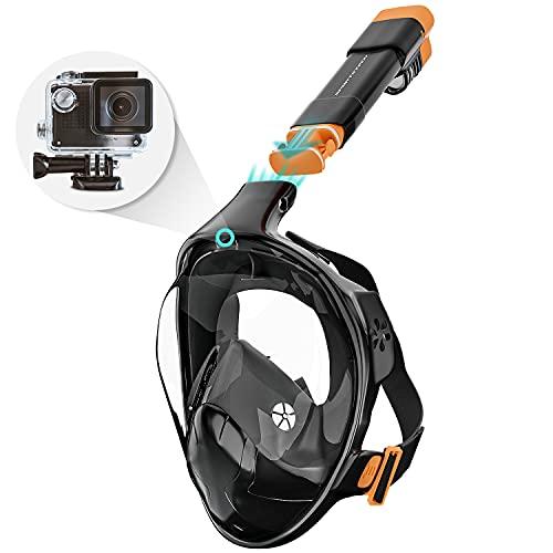 Sportstech CO2-sichere Schnorchelmaske + 180° Anti-Fog-Sichtfeld | Vollmaske Kinder & Erwachsene | Tauchmaske mit Smarter Kamera-Halterung für Unterwasserkamera | Maske schwarz | SNX500 Face Mask