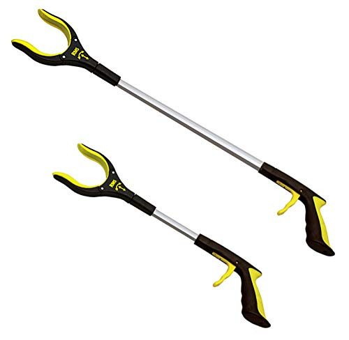 2Pack 32 Inch and 19 Inch Grabber Reacher with Rotating Jaw  Mobility Aid Reaching Assist Tool