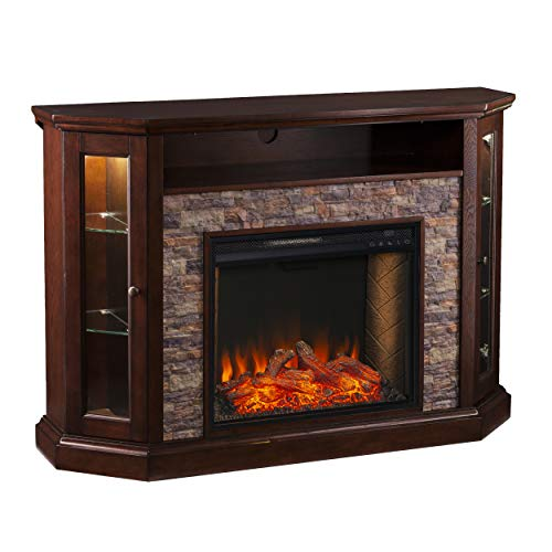 SEI Furniture Redden Faux Stone Convertible Alexa-Enabled Electric Media Storage Corner Fireplace, Espresso