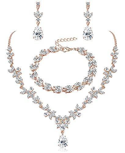 JeweBella Juegos de Joyas para Mujer Conjunto de Collar Pendientes y Pulsera con Cristal Conjunto de Joyas Novia