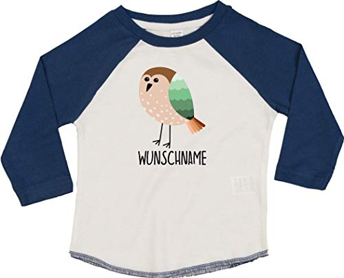 Kleckerliese T-shirt à manches longues pour enfant Motif animaux et oiseaux - Bleu - 18-24 mois