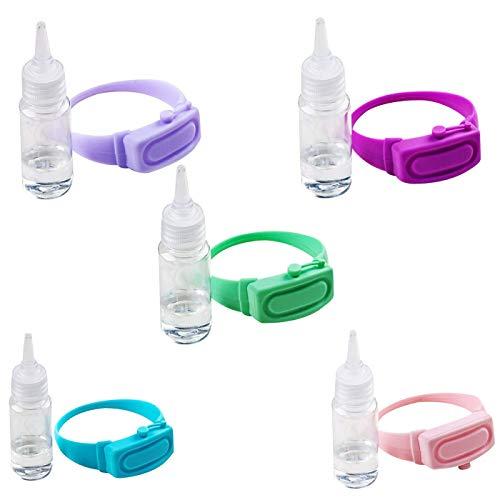 5PCS Brazalete de Silicona Portátil Pulsera de Silicona Dispensador de Desinfectante de Manos Botella Exprimible