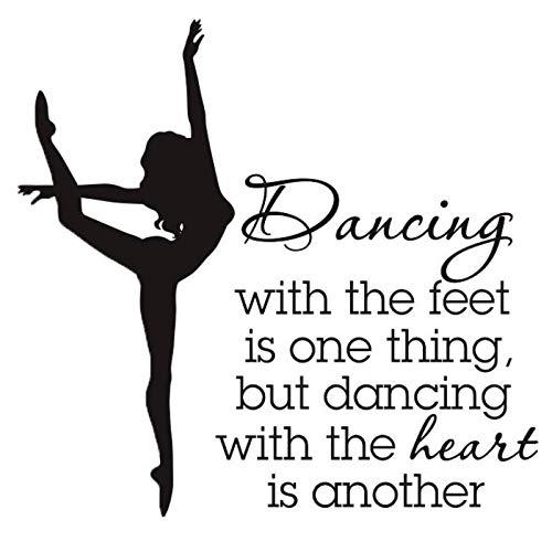 artaslf Zitate Aufkleber für die Tanzschule Motivierte Wörter Poster Vinyl Design Muster Wandaufkleber Ballett Tänzer Wandtattoo 57x57cm