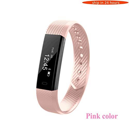 YJRIC Sportuhr Smart Armband Fitness Tracker Schrittzähler Aktivitätsmonitor Band Wecker Vibration Armband, Rosa Farbe