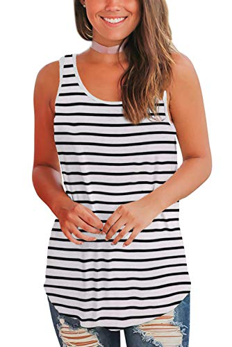 WFTBDREAM Tank Tops for Women Loose Fit Summer Sleeveless T-Shirt Round Neck Striped XL
