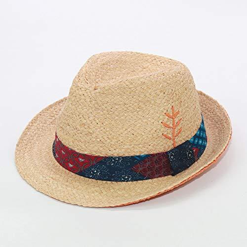 CQLKLI Bordado De Diseño Original Hojas Sombreros De Panamá Sombrero De Playa Unisex Sombrero De Fiesta De Té De Verano para Mujer Gorras De Visera para Hombre