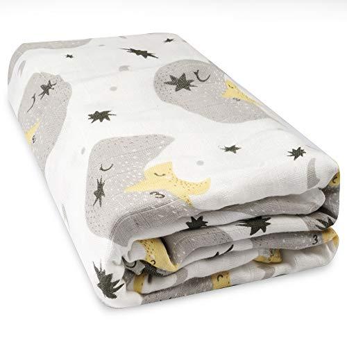 Viviland Manta de muselina para bebés de 6 capas, 120 x 120 cm. Colcha de algodón 100% para niños pequeños, toallas de baño para niños y niñas