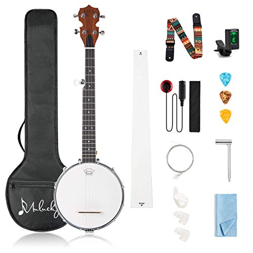Mulucky 5 String Banjo Mini - 28 Inch Closed Solid Back Beginner Kit With Gig Bag Tuner Picks Strings Strap - B804