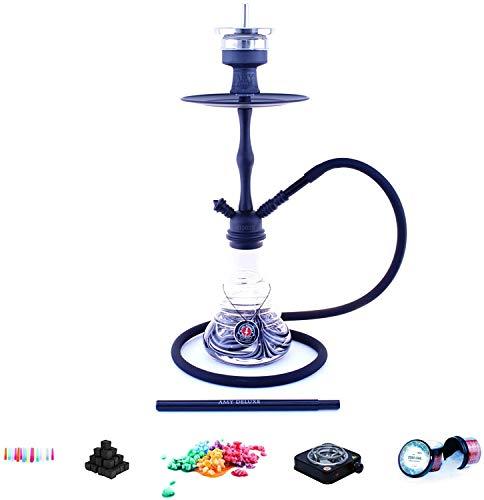 Shisha Set con Shisha Amy Deluxe Stillness clic II, Carbón Cigarrillos, Carbón natural, chimenea cabeza, Vapor piedras