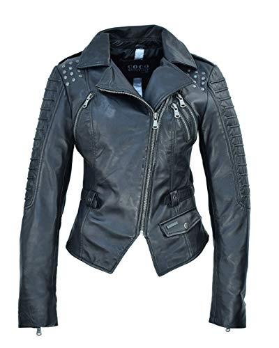 COCO BLACK LABEL since1986 Damen Lederjacke im Biker-Look mit Nieten und Reverskragen, Farbe:Schwarz, Größe:34