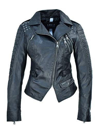 COCO BLACK LABEL since1986 Lederjacke für Damen Bikerjacke Nietenjacke Lammleder schwarz Nora, Größe:44, Farbe:Schwarz