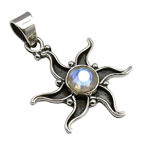 Unique exklusiver Jugendstil Ketten Anhänger echter Mondstein Stern eingefasst in 925 Sterling Silber 3.2 Karat Juweliers- Qualität