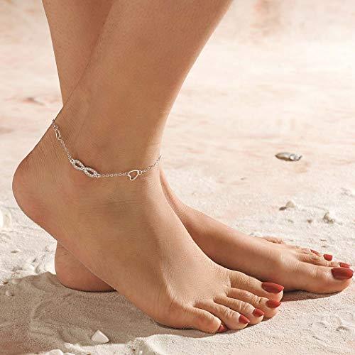 Yean Boho Layered Fußkettchen Herz Knöchel Fußkette Strandmuster Fußschmuck für Frauen und Mädchen (silber)