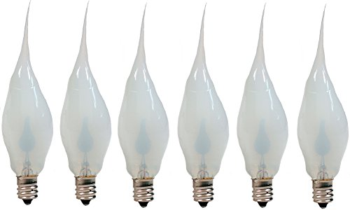 Creative Hobbies Silicone Dipped Flickering Flame Bulb, Country Style, Electric Candle Lamp Chandelier Light Bulbs, 3 Watt, Individually Boxed, Pack of 6 Bulbs