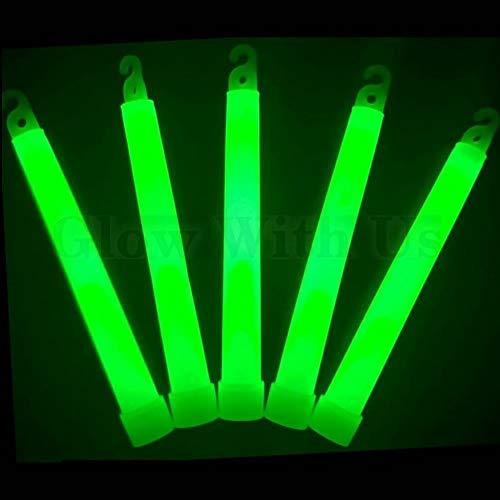 "Glow Sticks Bulk Wholesale, 25 6"" Industrial Grade Green Light Sticks. Bright Color, Glow 12-14 Hrs, Safety Glow Stick with 3-Year Shelf Life, GlowWithUs Brand"