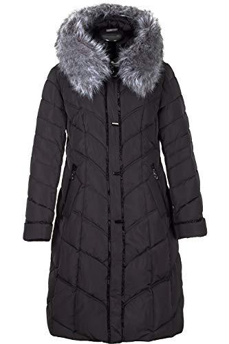 Grimada VL-V710 dames winterjas jas in dons-look VLASTA met bontcapuchon zwart