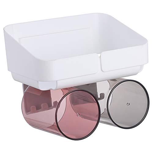 Cabilock Portaspazzolino da parete, in plastica, salvaspazio, con 2 portaspazzolini, per la casa, il bagno, 1 set bianco
