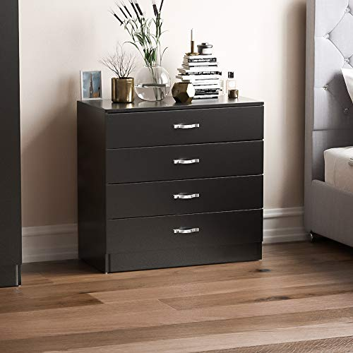 Home Discount Vida Designs Black Chest of Drawers, 4 Drawer With Metal...