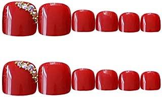 24Pcs Acrylic False Toenails with Glue Artificial Toe Nails for Women Pedicure Art Fake Feet Nails Full Cover
