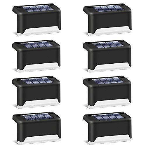 Solar-Deckleuchten für den Außenbereich, LED-Solar-Trittlicht, wasserdicht, Solar-Zaun-Lampe für Wege, Hof, Terrasse, Treppen, Stufen und Zäune (warmweiß), Schwarz , 8 pcs