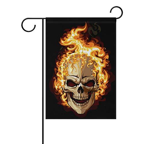 Polyester Garden Drapeau foncé Style Gothique maléfique Tête de Mort Halloween Bannière 30,5 x 45,7 cm pour extérieur Home Garden Pot de Fleurs Décor fête Maison Drapeau 28x40(in) Multicolore