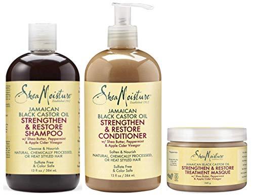 Shea Moisture Jamaican Black Castor Oil Combination Pack - Strengthen, Grow & Restore System - 13oz Shampoo, 13oz Conditioner, 12oz Treatment Masque