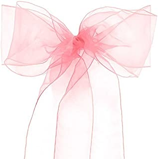 Lucky 10/20/50/100 Pack Organza Banquet Chair Sash Sashes Bows Ties for Weddings Party Decoration White Pink Purple Gold Red(50 Pack, Pink)