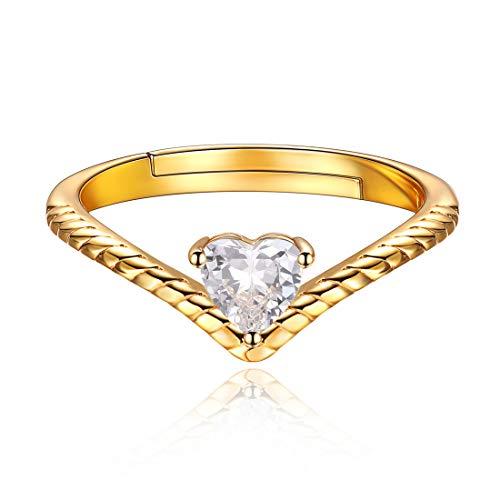 12 Monate Geburtstagsserie April Diamant, 925 Sterling Silber Zirkonia Herz Promise Ring Damen Schmuck …