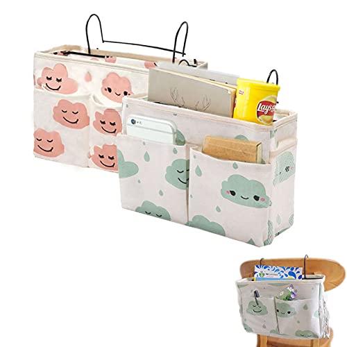 Bedside Organiser Pocket, 2 Pcs Bedside Pocket Storage Bag, Bedside Hanging...
