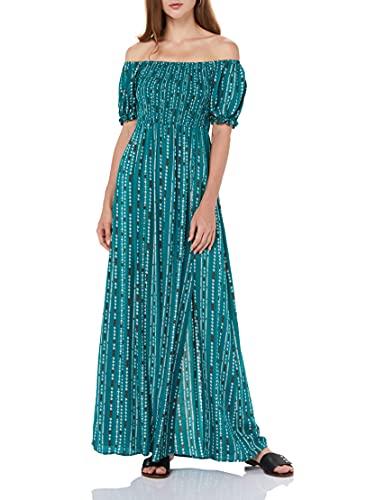 find. Amazon Marke Lässiges Schulterfreies Damen-Sommerkleid, florales Design, Maxikleid, Kurzarm, seitlich geteilt, Strandkleid, Grün