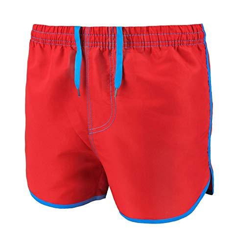 Evoga Costume da Bagno Uomo Shorts Pantaloncino Boxer Bermuda Mare (M, Rosso)