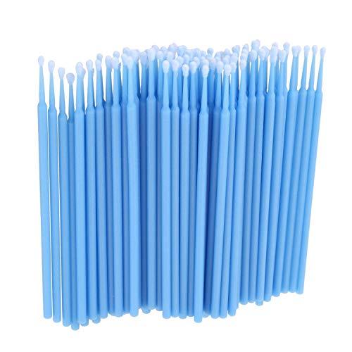 Moligh doll 100 Pieces Micro-Brosse Dentaire Materiaux Jetables Applicateurs de Dents Moyen Fine (bleu clair)