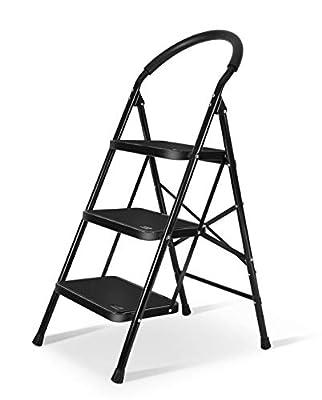 Setp Ladder with Rubber Handgrip Anti-Slip Pedal Lightweight Ladder 330lbs Capacity Black by XinSunho